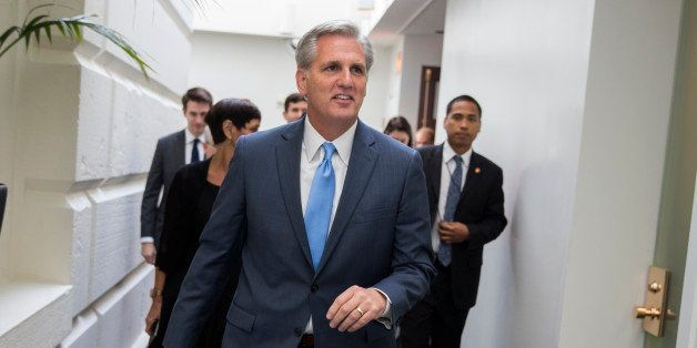 House Majority Leader Kevin McCarthy of Calif., leaves a meeting on Capitol Hill in Washington, Thursday, Oct. 8, 2015, ahead of a nomination vote to replace House Speaker John Boehner, who is stepping down, and retiring from Congress, at the end of the month, after nearly five years in the role. (AP Photo/Evan Vucci)