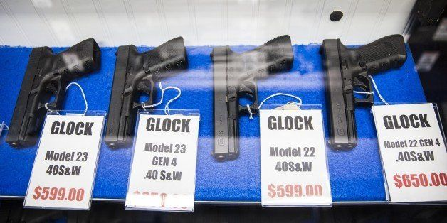 MARYLAND, USA - OCTOBER 6: Different models of Glock pistols for sale at Maryland Small Arms Range in Maryland, USA on Octobe