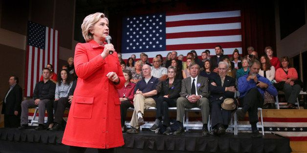Democratic presidential candidate Hillary Rodham Clinton speaks during a town hall meeting, Friday, Oct. 16, 2015, in Keene,