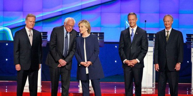 Democratic presidential candidates from left, former Virginia Sen. Jim Webb, Sen. Bernie Sanders, I-Vt., Hillary Rodham Clint
