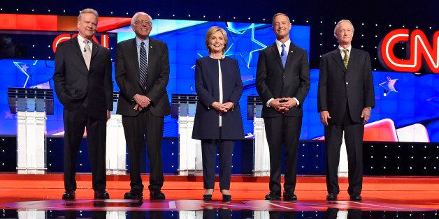 In this Oct. 13, 2015, photo, Democratic presidential candidates from left, former Virginia Sen. Jim Webb, Sen. Bernie Sander