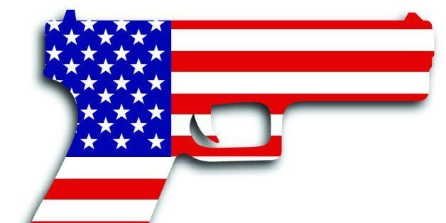 Vector illustration of a semi-automatic handgun with an american flag icon.
