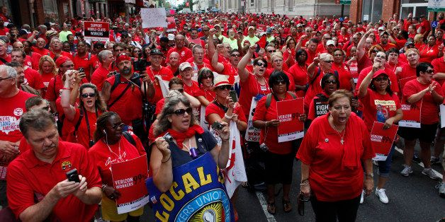 Members of the Communications Workers of America (CWA) participate in a demonstration, Saturday Aug. 11, 2012, outside Verizo