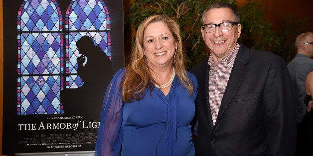 LOS ANGELES, CA - OCTOBER 14:  Filmmaker Abigail Disney (L) and Reverend Rob Schenck attend the 'The Armor Of Light' Los Ange