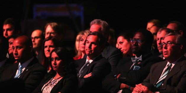 BOULDER, CO - OCTOBER 28:  Audience members watch the CNBC Republican Presidential Debate at University of Colorados Coors Ev