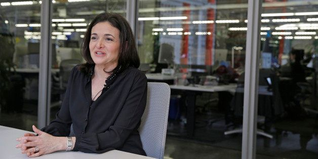In this photo taken Tuesday Feb. 3, 2015, Facebook chief operating officer Sheryl Sandberg answers questions during an interv
