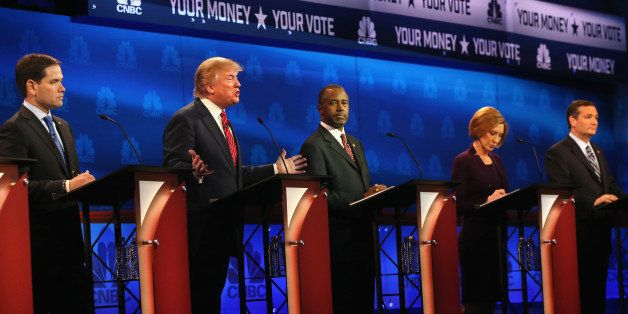 BOULDER, CO - OCTOBER 28:  Presidential candidates Donald Trump (2nd L)  speaks while Sen. Marco Rubio (L-R) (R-FL), Ben Cars