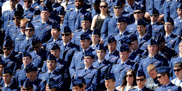 Cadets stand during the commencement ceremony at the United States Air Force Academy in Colorado Springs on Wednesday, May 23