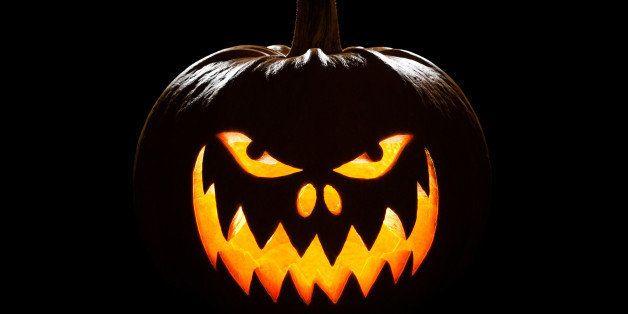 Pumpkin for Halloween on a black background