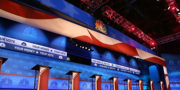 BOULDER, CO - OCTOBER 27:  The stage is prepared for the CNBC Republican presidential debate at the University of Colorado Oc