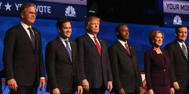 BOULDER, CO - OCTOBER 28:  Presidential candidates Jeb Bush (L-R), Sen. Marco Rubio (R-FL), Donald Trump, Ben Carson,  Carly