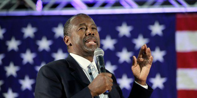 Republican presidential candidate, retired neurosurgeon Ben Carson addresses supporters at Spring Arbor University in Spring