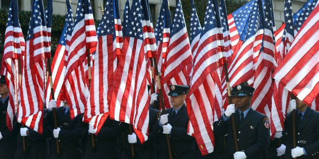 NEW YORK CITY, NY, UNITED STATES - NOVEMBER 11: Participants march during the annual Veterans Day parade to honor U.S. milita
