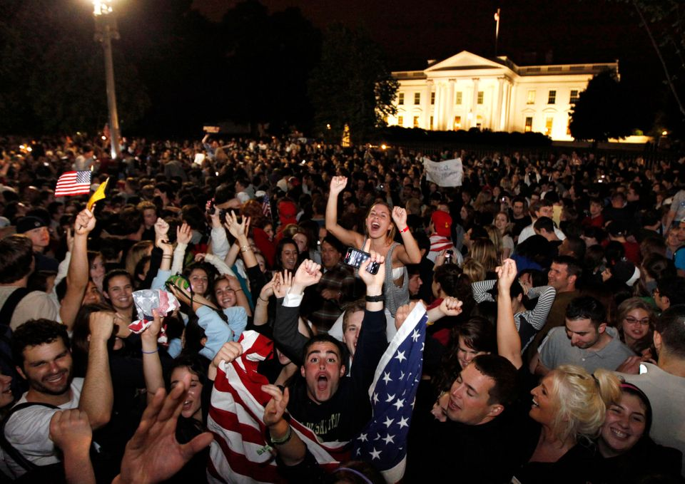 Crowds gathers outside the White House in Washington early Monday, May 2, 2011, to celebrate after President Barack Obama ann