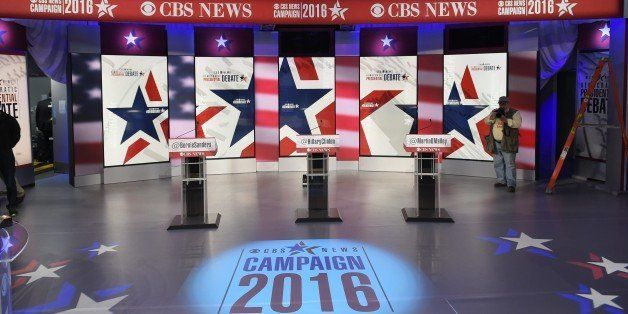 A November 14, 2015 photo shows the set where the Democratic Presidential Debate will take place in Sheslow Auditorium in the