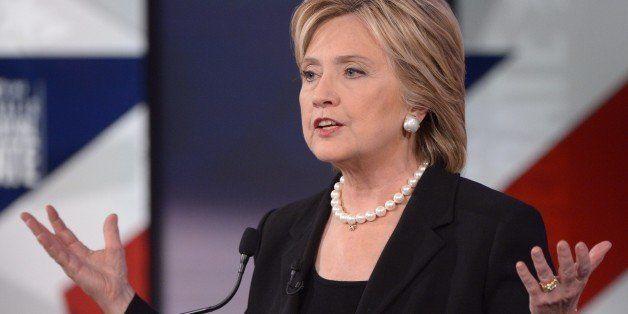 Democratic Presidential hopeful Hillary Clinton speaks during the second Democratic presidential primary debate in the Sheslo