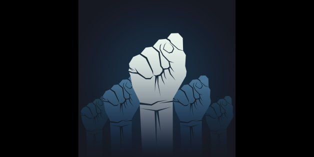 power or unity concept, close hand fist up hand background vector
