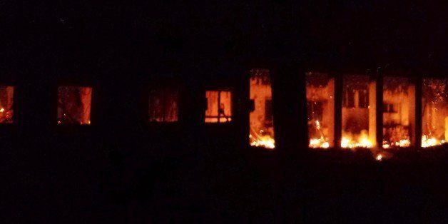 KUNDUZ, AFGHANISTAN -OCTOBER 03: Fire at Doctors Without Borders (MSF) after a US airstrike on MSF hospital in Kunduz, Afghan
