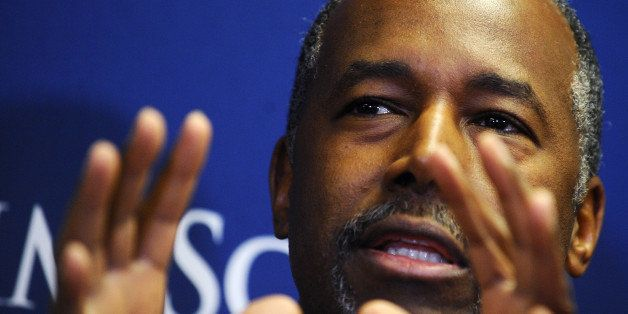 Republican Presidential candidate, Dr. Ben Carson speaks to the media before a town hall event at Bob Jones University, Frida