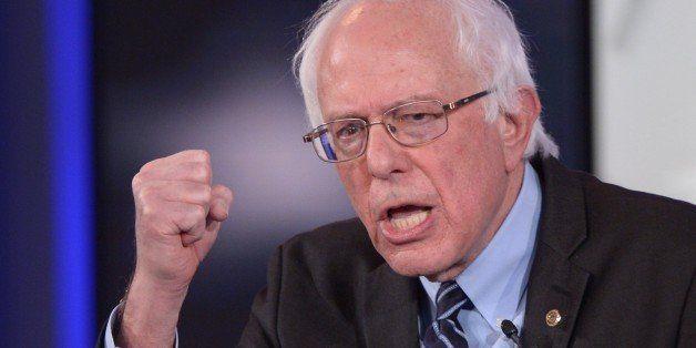 Democratic Presidential hopeful Bernie Sanders gestures during the second Democratic presidential primary debate in the Shesl