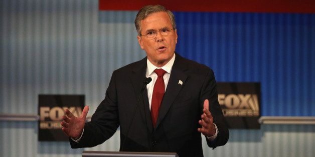 MILWAUKEE, WI - NOVEMBER 10:  Republican presidential candidate Jeb Bush speaks during the Republican Presidential Debate spo