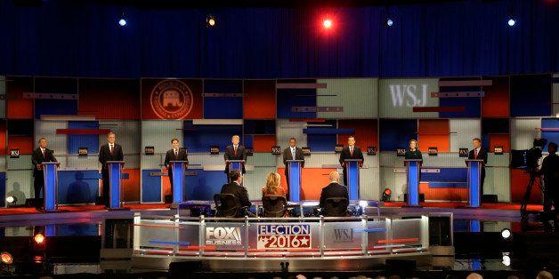Republican presidential candidates John Kasich, Jeb Bush, Marco Rubio, Donald Trump, Ben Carson, Ted Cruz, Carly Fiorina and