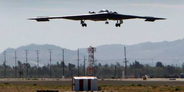 PALMDALE, CA  JULY 17, 2014 -- The U.S. Air Force's B-2 Spirit Stealth bomber 'Spirit of Arizona' lands at the Northrop Grumm