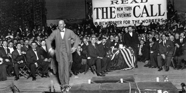 Eugene V. Debs, member of the Socialist Party of the USA and presidential candidate, speaks to members of the worker's union