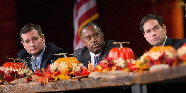 DES MOINES, IA - NOVEMBER 20:  Republican presidential candidates (LtoR) Ted Cruz (R-TX), Ben Carson, Sen. Marco Rubio (R-FL)