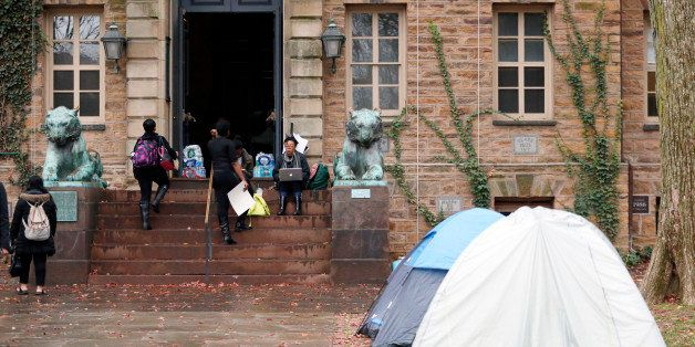 Tents are erected outside of Princeton University's Nassau Hall, where students are staging a sit-in, Thursday, Nov. 19, 2015