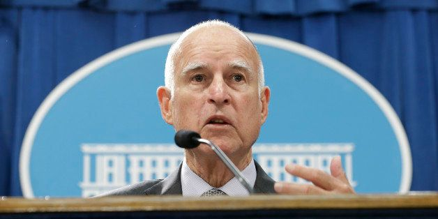 California Gov. Jerry Brown discusses his revised state budget plan during a news conference at the Capitol in Sacramento, Ca