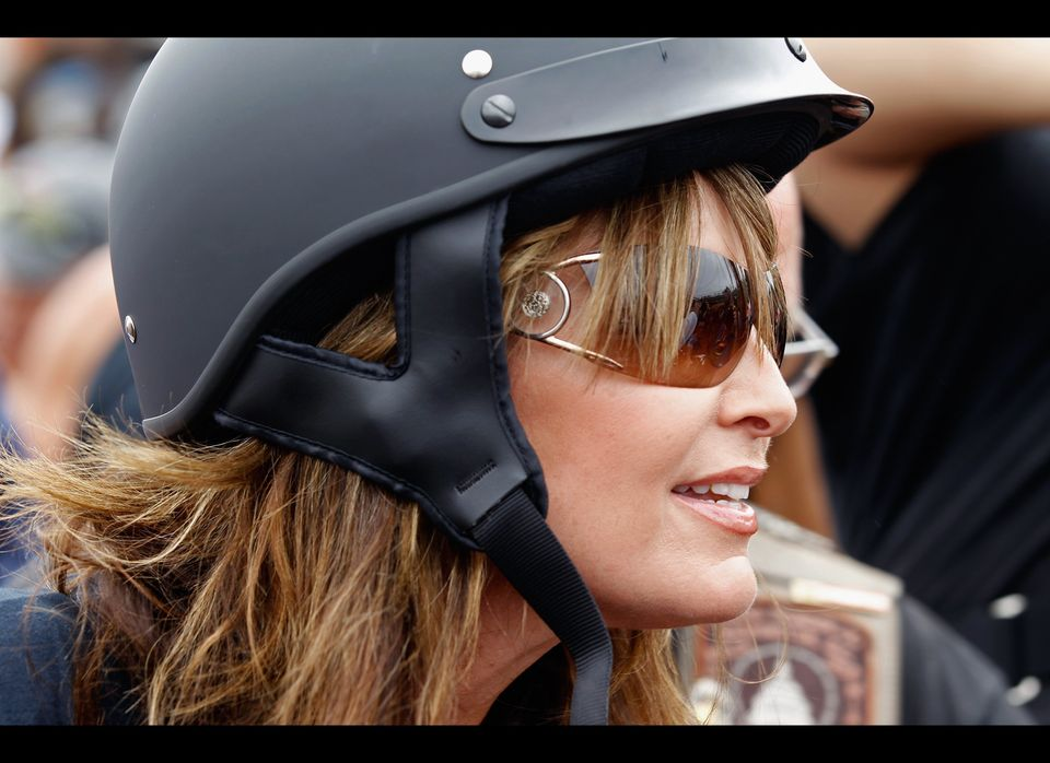 ARLINGTON, VA - MAY 29:  Former U.S. Vice presidential candidate and Alaska Governor Sarah Palin rides on a motorcycle before