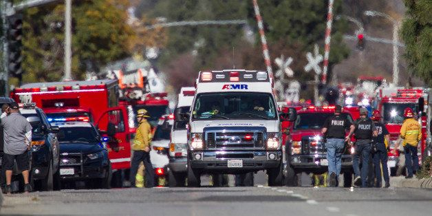 SAN BERNARDINO, CA - DECEMBER 2: Ambulances leave the scene of a mass shooting at the Inland Regional Center on December 2, 2105 in San Bernardino, California. Multiple fatalities and injuries were reported as police search for up to three suspects who are still at-large. (Photo by Gina Ferazzi / Los Angeles Times via Getty Images)