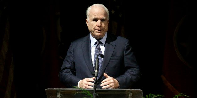 Sen. John McCain, R-Ariz., speaks during a service for Fred Thompson, a former United States senator, actor and Republican pr