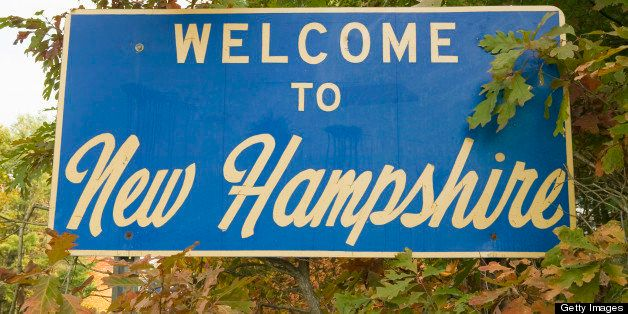 Welcome to New Hampshire state road sign