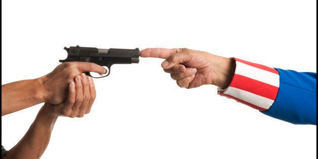 uncle sam putting his finger in the barrel of a handgun