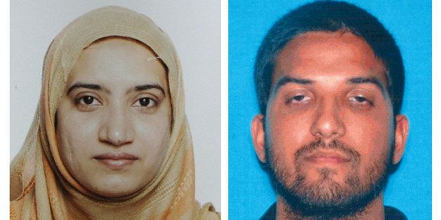This undated combination of photos provided by the FBI, left, and the California Department of Motor Vehicles shows Tashfeen