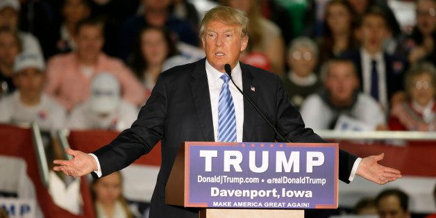 Republican presidential candidate Donald Trump speaks during a campaign rally Saturday, Dec. 5, 2015, in Davenport, Iowa. (AP