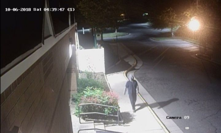 Police in North Virginia are searching for a suspect caught on video spray-painting 19 swastikas on a Jewish community center