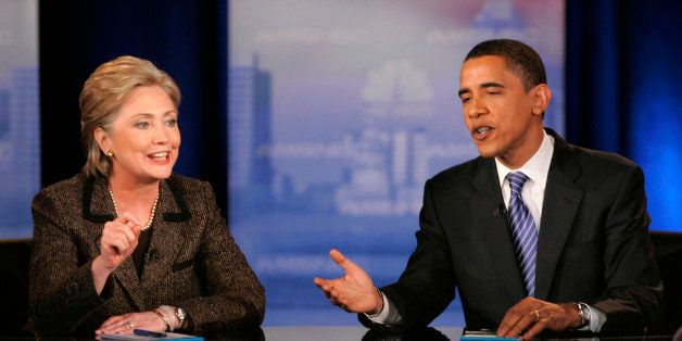 ** FILE ** In this Feb. 26, 2008 file photo, then Democratic presidential hopefuls Sen. Hillary Rodham Clinton, D-N.Y., left,