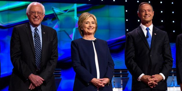 LAS VEGAS, NV - October 13: bernie Sanders, Hillary Clinton and Martin O'Malley pictured at the 2015 CNN Democratic President