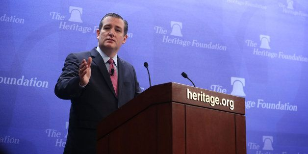 WASHINGTON, DC - DECEMBER 10:  Republican presidential candidate Sen. Ted Cruz (R-TX) speaks at the Heritage Foundation Decem