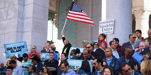 LOS ANGELES, UNITED STATES - DECEMBER 13: Hundreds of Californians, mostly including Muslims, gather to stage a protest again