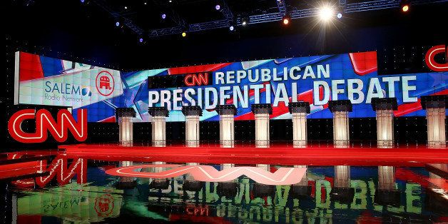 LAS VEGAS, NV - DECEMBER 15:  A view of the stage for the CNN Republican presidential debate at The Venetian Las Vegas on Dec