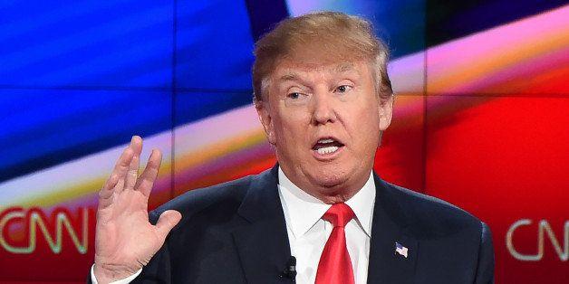 Republican presidential Donald Trump speaks at the Republican Presidential Debate, hosted by CNN, at The Venetian Las Vegas o