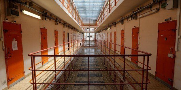 A photo taken on August 4, 2015 shows the gangway at Clairvaux Prison in Ville-sous-la-Ferte, northwestern France, . AFP PHOT