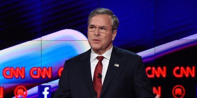 Republican presidential candidate former Gov. Florida Jeb Bush speaks during the Republican Presidential Debate, hosted by CN