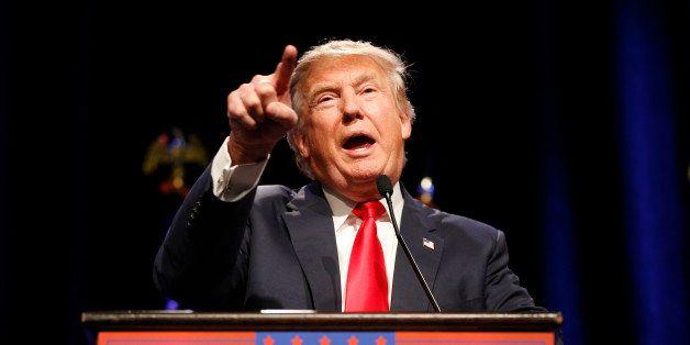 Republican presidential candidate Donald Trump speaks at a rally Monday, Dec. 14, 2015, in Las Vegas. (AP Photo/John Locher)