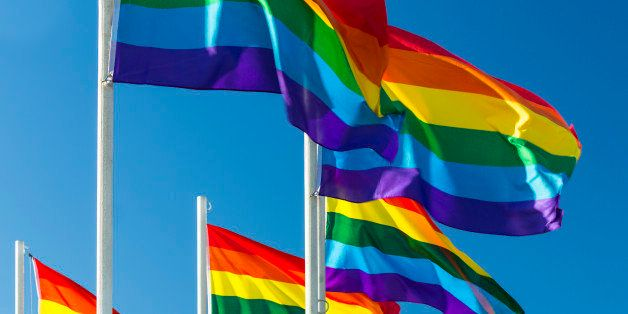 Rainbow flags in the wind. The rainbow flag, sometimes called 'the freedom flag', is commonly used as a symbol of lesbian, ga
