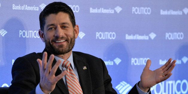 WASHINGTON D.C., Dec. 15, 2015-- U.S. House Speaker Paul Ryan reacts as he attends a breakfast event in Washington D.C., the United States, Dec. 15, 2015. U.S. House Speaker Paul Ryan said Tuesday that Congress needs to pass another short-term government funding measure to buy time for having a vote on the 1.15-trillion-U.S.-dollar government spending bill on Thursday. (Xinhua/Bao Dandan via Getty Images)